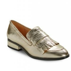 Isaac Mizrahi Veronica Gold Leather Loafers